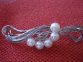Mikimoto  - 1950's Silver Brooch with 5 Cultured Pearls  (SOLD)